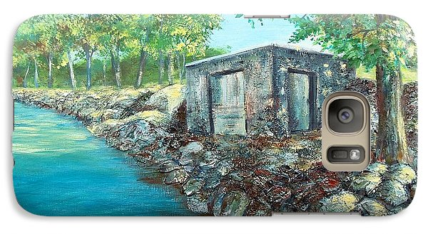Galaxy Case featuring the painting Grandpa's Boathouse by Susan DeLain