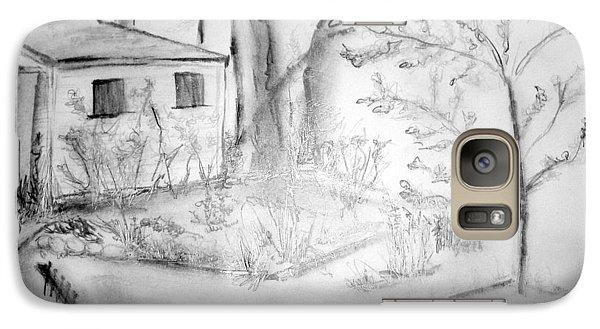 Galaxy Case featuring the drawing Granpa's Backyard IIi by Helena Bebirian