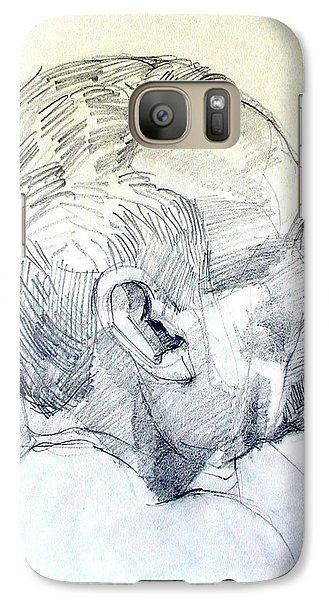 Galaxy Case featuring the drawing Graphite Portrait Sketch Of A Man In Profile by Greta Corens
