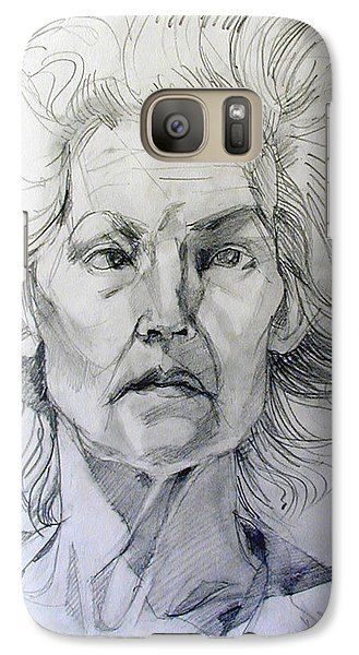 Galaxy Case featuring the drawing Graphite Portrait Sketch Of A Well Known Cross Eyed Model by Greta Corens