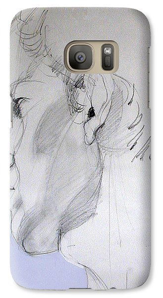 Galaxy Case featuring the drawing Graphite Portrait Sketch Of A Young Man In Profile by Greta Corens