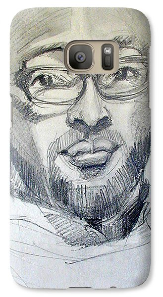 Galaxy Case featuring the drawing Graphite Portrait Sketch Of A Young Man With Glasses by Greta Corens