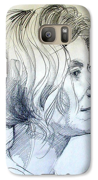 Galaxy Case featuring the drawing Portrait Drawing Of A Woman In Profile by Greta Corens