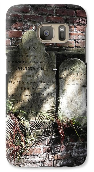 Galaxy Case featuring the photograph Grave Stones With Fern by Patricia Greer