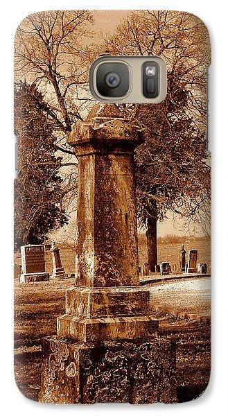 Galaxy Case featuring the photograph Graveyard In Sepia by Karen Kersey