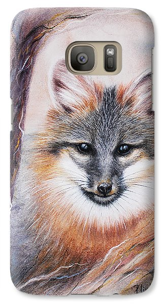 Galaxy Case featuring the drawing Gray Fox by Patricia Lintner