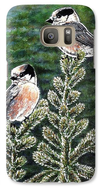 Galaxy Case featuring the painting Gray Jays by VLee Watson