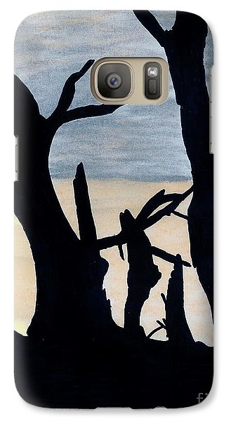 Galaxy Case featuring the drawing Gray Sunset by D Hackett