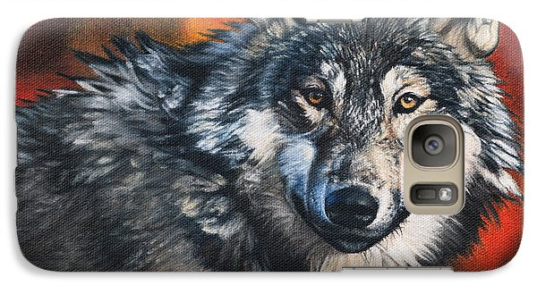 Galaxy Case featuring the painting Gray Wolf by Joshua Martin