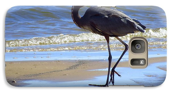 Galaxy Case featuring the photograph Great Blue And Beach by Phyllis Beiser