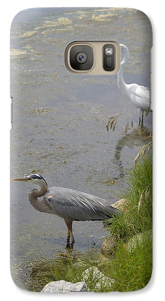 Galaxy Case featuring the photograph Great Blue And White Egrets by Judith Morris