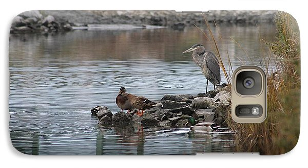 Galaxy Case featuring the photograph Great Blue Heron And Friends by Robert Banach