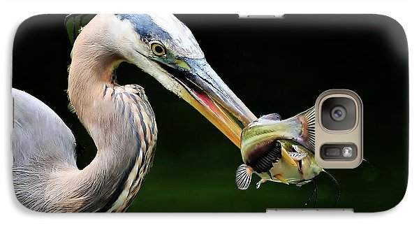 Galaxy Case featuring the photograph Great Blue Heron And The Catfish by Kathy Baccari