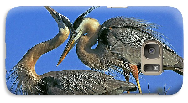 Galaxy Case featuring the photograph Great Blue Heron Courting Pair by Larry Nieland
