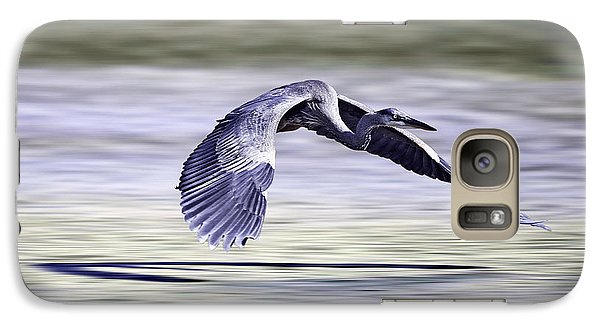 Galaxy Case featuring the photograph Great Blue Heron In Flight by John Haldane