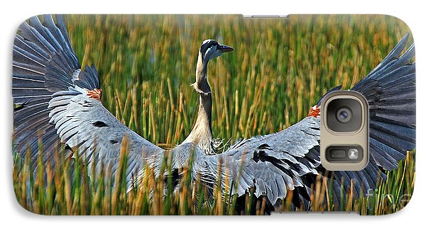 Galaxy Case featuring the photograph Great Blue Heron Landing by Larry Nieland