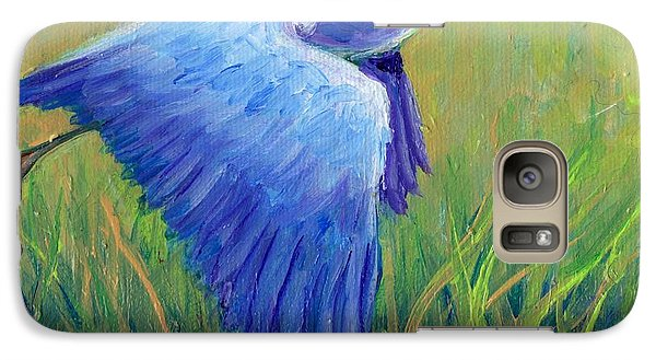 Galaxy Case featuring the painting Great Blue Heron Mini Painting by Doris Blessington