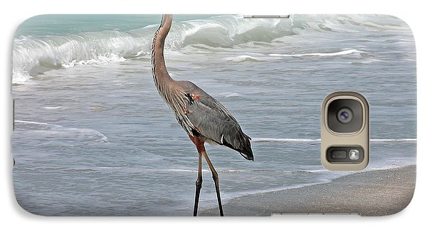 Galaxy Case featuring the photograph Great Blue Heron On Beach by Mariarosa Rockefeller