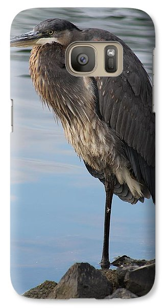 Galaxy Case featuring the photograph Great Blue Heron One Legged Stance by Robert Banach