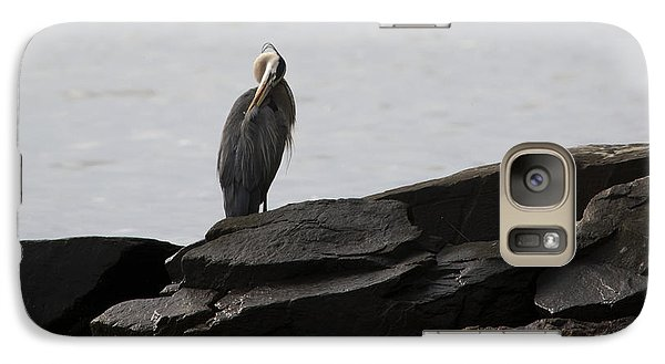 Galaxy Case featuring the photograph Great Blue Heron Preening by Rebecca Sherman