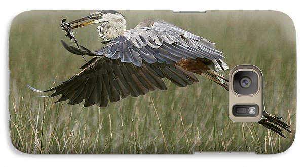 Galaxy Case featuring the photograph Great Blue Heron With Lunch by Myrna Bradshaw