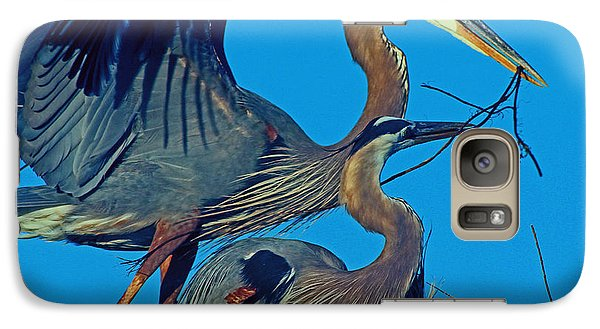Galaxy Case featuring the photograph Great Blue Herons - Nest Building by Larry Nieland