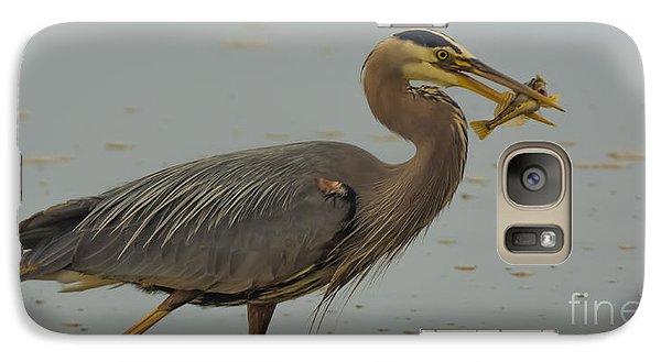 Great Blue Herron Eating Fish Galaxy S7 Case