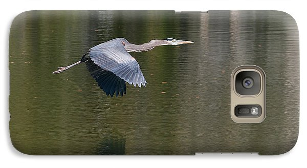 Galaxy Case featuring the photograph Great Blue Over Green by Paul Rebmann