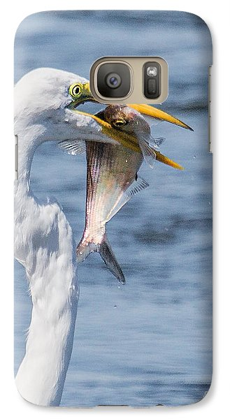 Galaxy Case featuring the photograph Great Egret With Fish by Susi Stroud