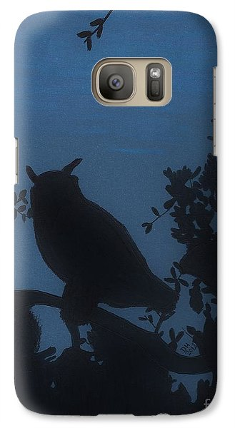 Galaxy Case featuring the drawing Owl At Night by D Hackett