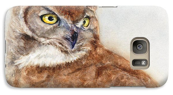 Galaxy Case featuring the painting Great Horned Owl by Bonnie Rinier