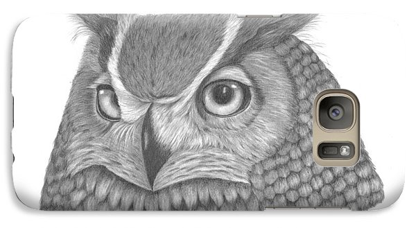 Galaxy Case featuring the drawing Great Horned Owl by Patricia Hiltz
