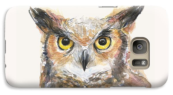 Great Horned Owl Watercolor Galaxy Case by Olga Shvartsur
