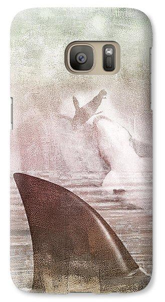 Galaxy Case featuring the digital art Great White Attack by Davina Washington