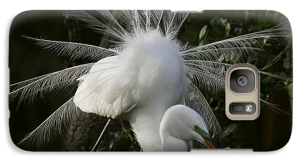 Galaxy Case featuring the photograph Great White Egret Displaying by Myrna Bradshaw