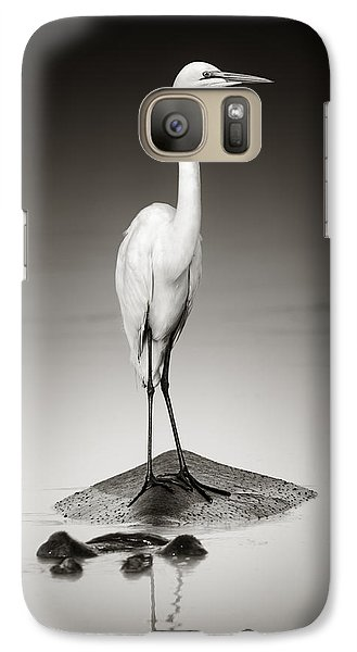 Egret Galaxy S7 Case - Great White Egret On Hippo by Johan Swanepoel