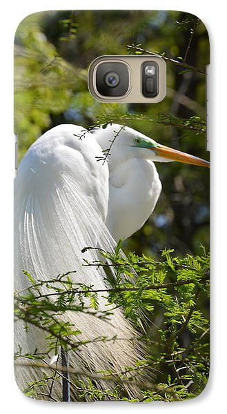Galaxy Case featuring the photograph Great White Egret On Nest by Judith Morris
