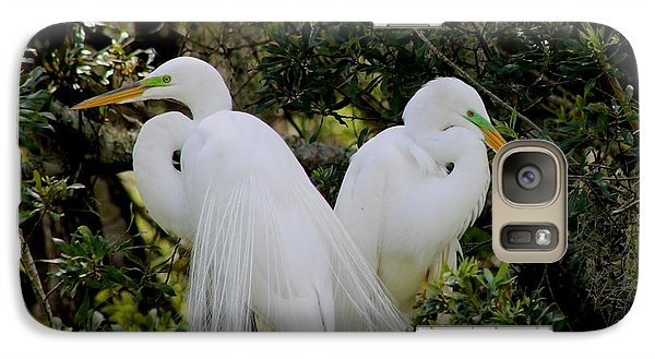 Galaxy Case featuring the photograph Great White Egret Pair In Breeding Plumage by Jeanne Kay Juhos