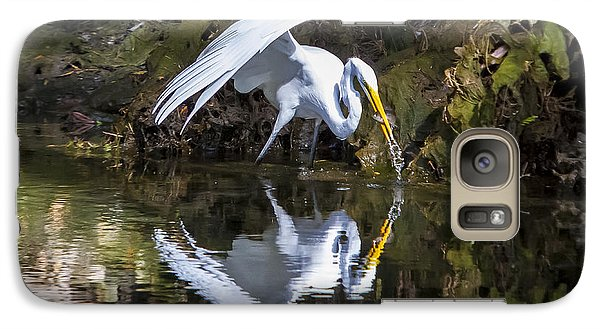 Galaxy Case featuring the photograph Great White Heron Fishing by Charles Warren