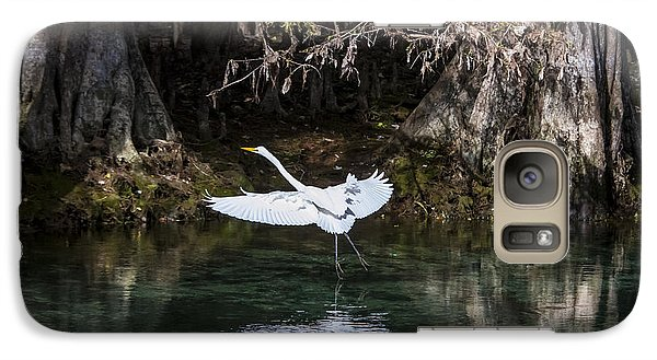Galaxy Case featuring the photograph Great White Heron In Flight by Charles Warren