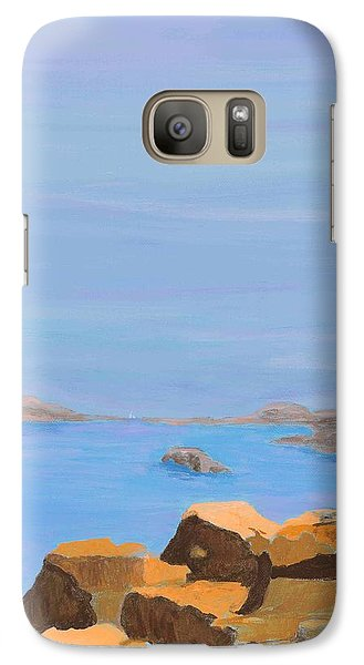 Galaxy Case featuring the painting Greece Inlet by Artists With Autism Inc
