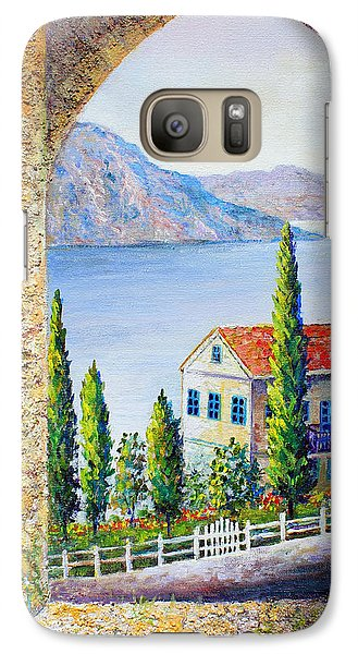 Galaxy Case featuring the painting Greek Arch Vista by Lou Ann Bagnall