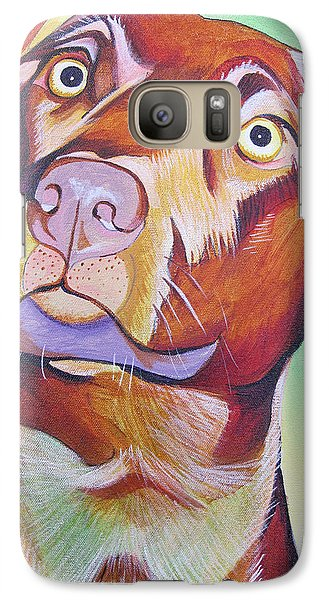 Galaxy Case featuring the painting Green And Brown Dog by Joshua Morton