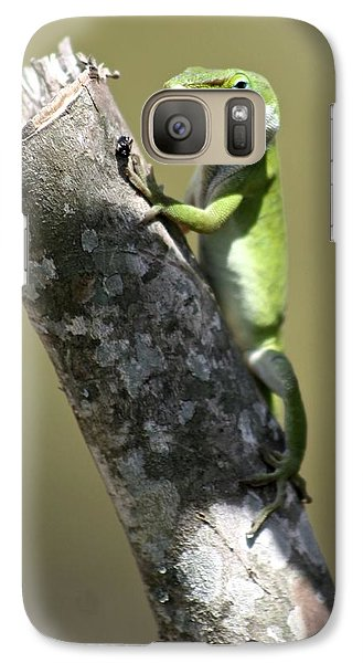 Galaxy Case featuring the photograph Green Anole Ready For Lunch by Jeanne Kay Juhos