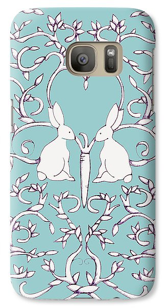 Galaxy Case featuring the drawing Green Blue Rabbits Leaves by Donna Huntriss