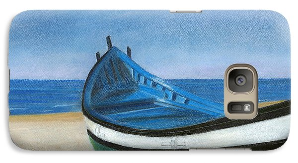 Galaxy Case featuring the painting Green Boat Blue Skies by Arlene Crafton