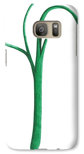 Galaxy Case featuring the drawing Green Branche by Giuseppe Epifani