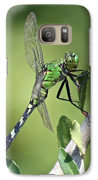 Galaxy Case featuring the photograph Green Dragonfly Eastern Ponhawk by Jeanne Kay Juhos