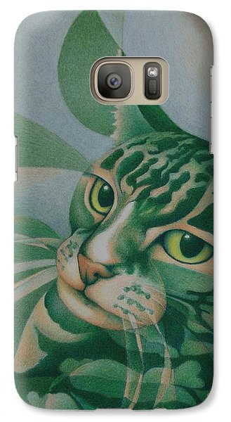 Galaxy Case featuring the painting Green Feline Geometry by Pamela Clements