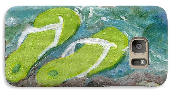 Galaxy Case featuring the painting Green Fliip Flops On Tybee by Doris Blessington